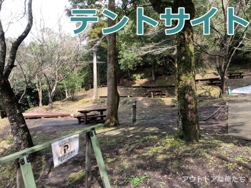 岩屋公園キャンプ場のテントサイト