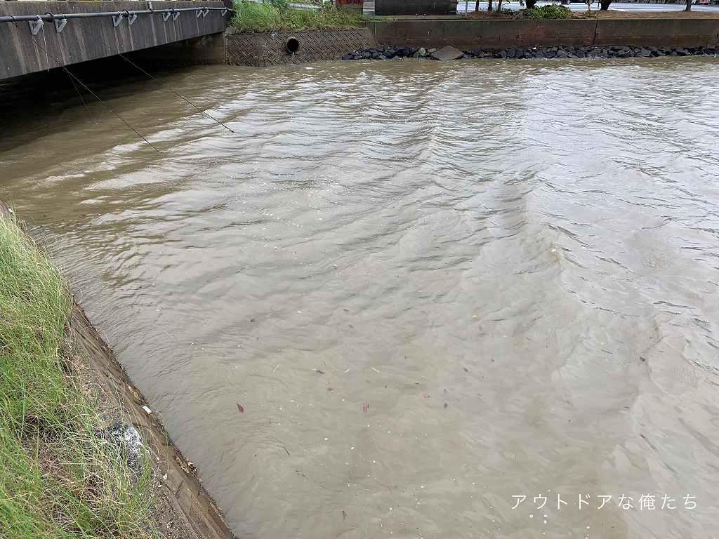 雨後は小さな河川も見逃せない